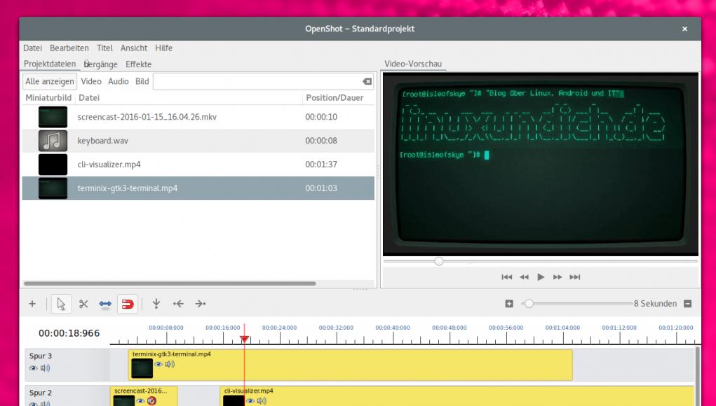 OpenShot Videoeditor unter Linux