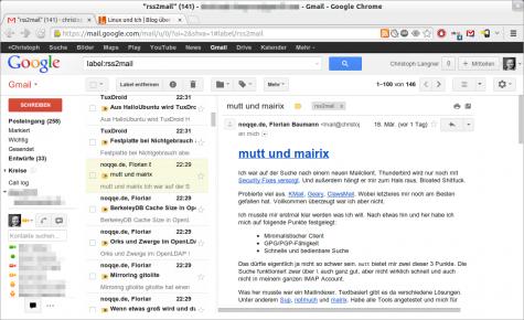 Über rss2email zugestellte Feeds in Gmail.