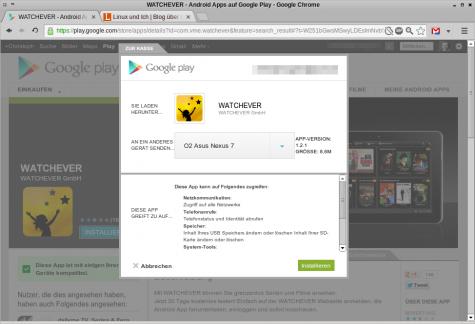Watchever lässt sich nun über das Web-Frontend auf einem Galaxy Nexus installieren.