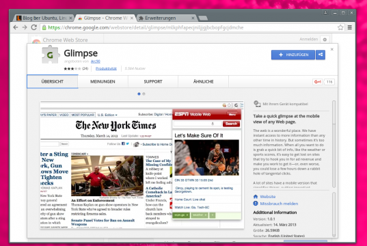 Glimpse für Chrome