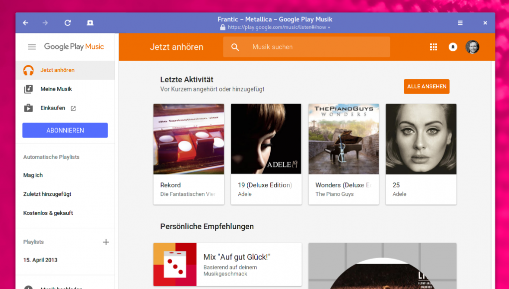 Google Play Music unter Linux