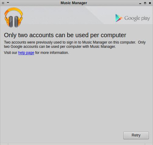 Google erlaubt es dem Google Music Manager nur zu zwei Google-Accounts Musik hochzuladen.