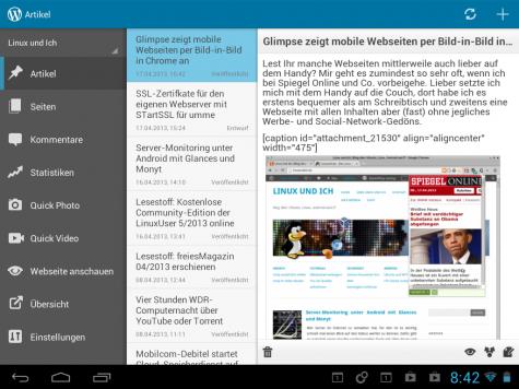 Wordpress-Blogger mit einem Tablet bekommen eine angepasste Ansicht präsentiert.