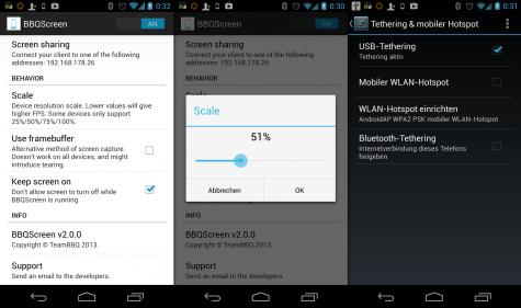 BBQScreen auf einem gerooteten Galaxy Nexus.