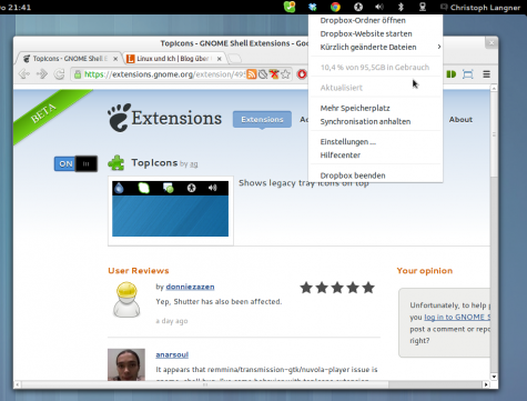 """TopIcons zeigt """"Legacy Tray Icons"""" in der Top-Leiste der GNOME-Shell."""