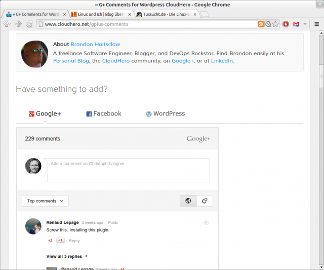 Per Google+ in WordPress kommentieren.