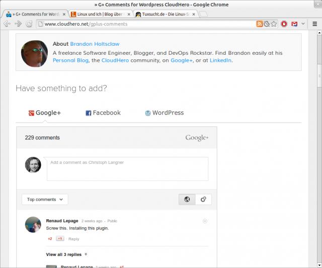 Per Google+ in WordPress kommentieren.