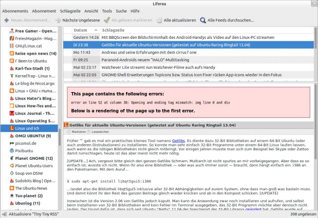Liferea kann seine Ansicht mit Tiny Tiny RSS synchronisieren.