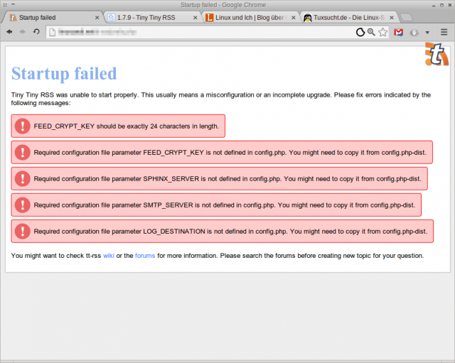 Nach dem Online-Update muss die config.php noch von Hand angepasst werden.