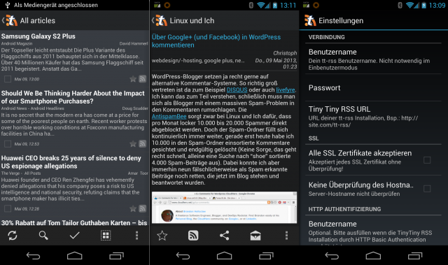 Die Tiny Tiny RSS App für Android.