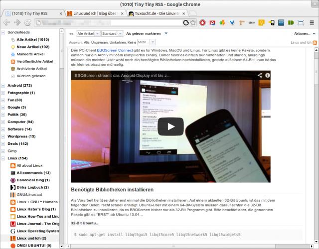 Damit eingebettete YouTube-Videos in Tiny TIny RSS laufen, muss ein Plugin installiert werden.