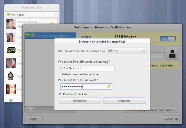 Das FRITZ!Box-VoIP-Konto muss in Empathy eingetragen werden.
