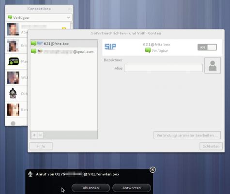 Eingehende Anrufe werden dann über die GNOME-Benachrichtigungen angezeigt.