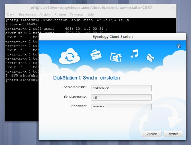 Ein Assistent hilft beim Einrichten des CloudStation-Clients.