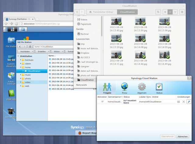 Der CloudStation-Client unter der GNOME Shell und Arch Linux.