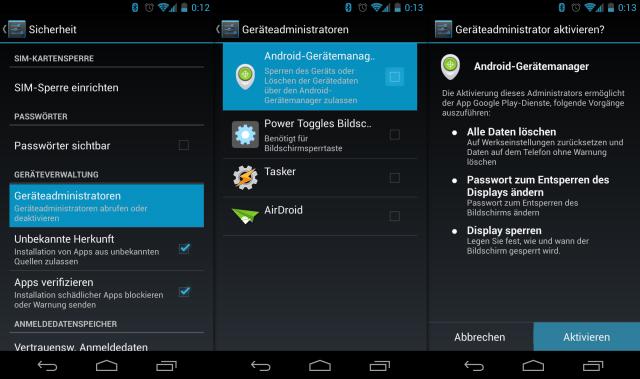 Der Android Gerätemanager muss als Geräteadministrator freigeschaltet werden.