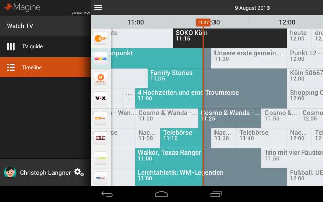 In der Android-App sucht ihr euch über den EPG eure Sendung raus.