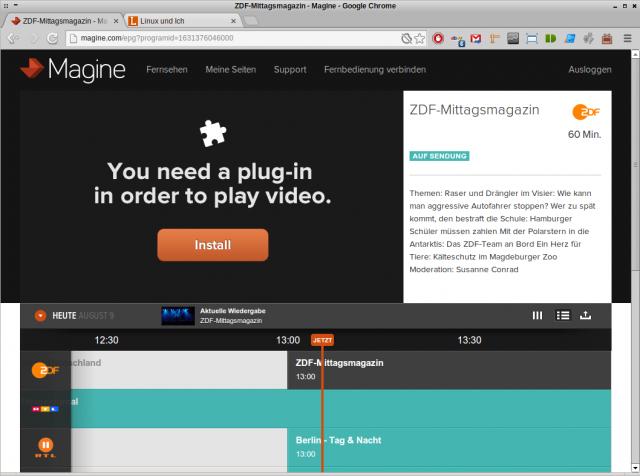 Das für Magine benötigte DRM-Plugin Widevine Media Optimizer gibt es nicht für Linux.
