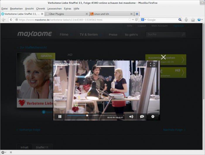 Maxdome via Pipelight im Linux-Browser.
