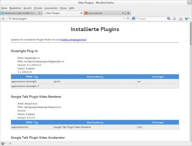 Der Browser konnte das Pipelight-Plugin erfolgreich laden.