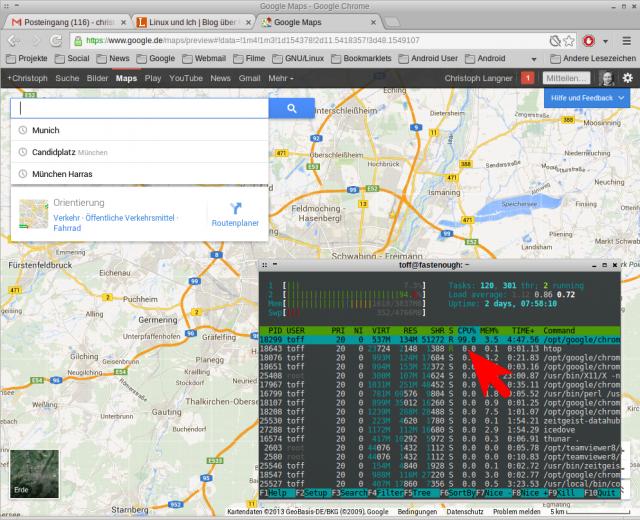 Auf älteren Rechnern treibt das neue Google Maps die CPU in die Knie.