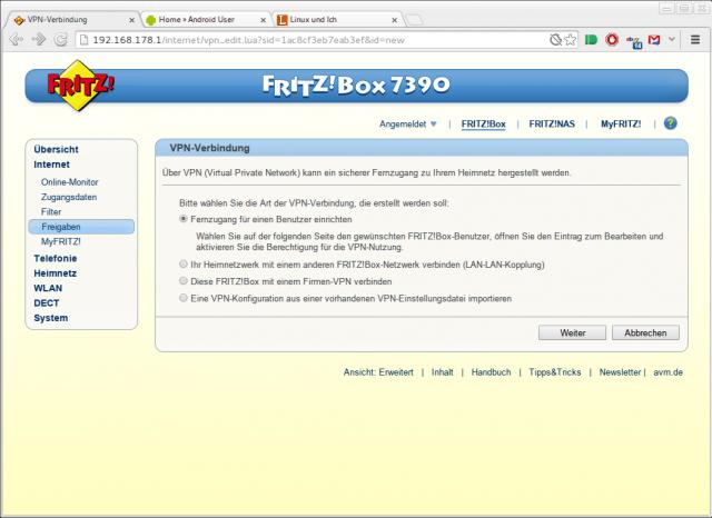Der VPN-Zugang lässt sich in FRITZ!OS 6.0 nun direkt in der Weboberfläche einrichten.