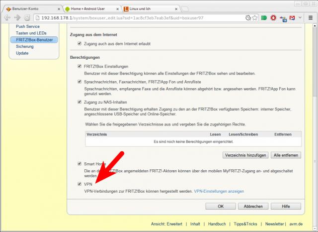 Für jeden Benutzer kann im Profil der VPN-Zugang aktiviert werden.