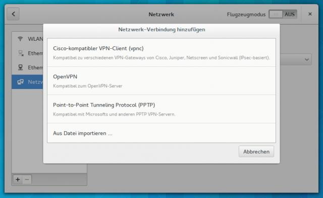 Im Netzwerk-Manager richtet ihr ein VPNC-VPN-Zugang ein.