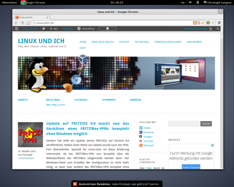 LinConnect im Zusammenspiel mit den Notifications der GNOME Shell.