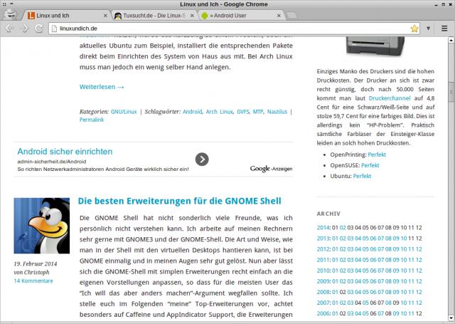 Auch im Browser auf dem PC werden automatisch passende Anzeigen geladen.