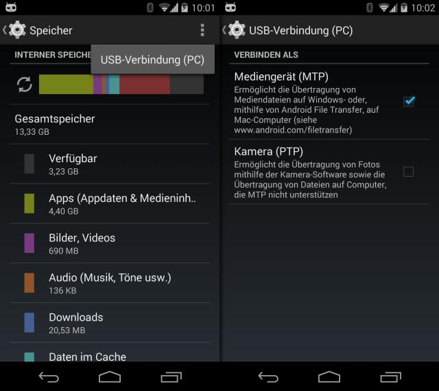 Die USBVerbindung sollte auf dem Handy auf MTP eingestellt sein.