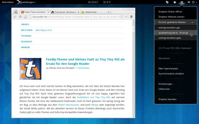 Die Erweiterung AppIndicator Support lädt die von Unity bekannten Indicator-Applets in das GNOME Panel.
