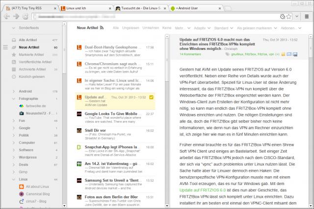 Tiny Tiny RSS mit Feedly-Theme im Breitbildmodus.