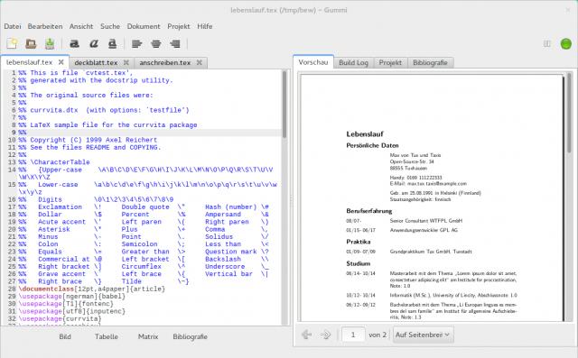 Gummi zeigt jede Änderung am LaTeX-Dokument umgehend an.