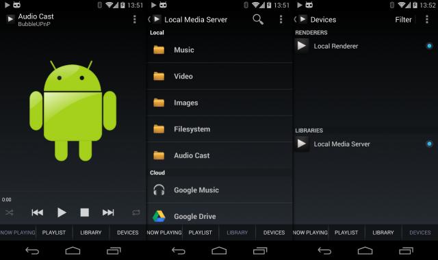 BubbleUPnP unterstützt neben DLNA-Streams inzwischen auch den Chromecast-Dongle.