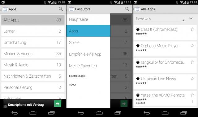 Der Cast Store für Chromecast listet alle Chromecast-fähigen Apps auf.