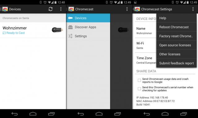 Die Chromecast-App dient nur zum Einrichten des Chromecast-Sticks im eigenen Netzwerk.