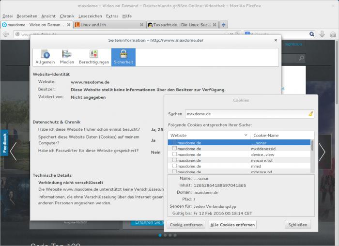 Unter Firefox lassen sich die Cookies von Maxdome und Co. einfacher löschen.