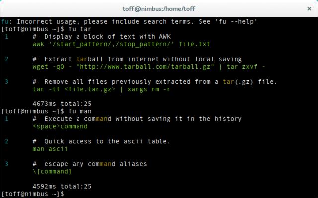 fu ist ein Kommandozeilenfrontend für commandlinefu.com