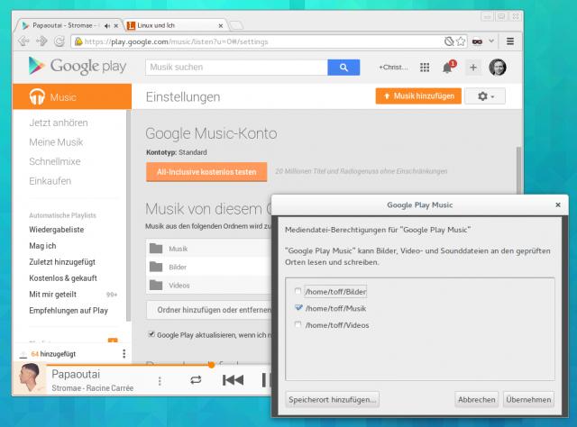 Klickt man auf Musik hochladen lassen sich auch Ordner automatisch auf neue Songs überwachen.
