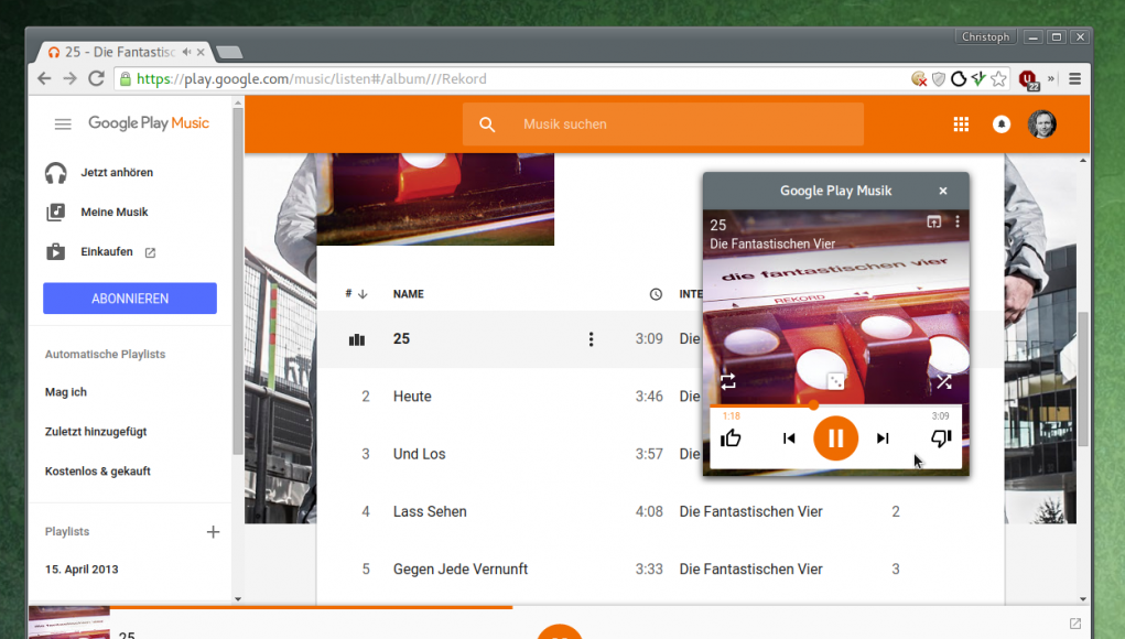 Google Play Music mit Mini-Player für Chrome