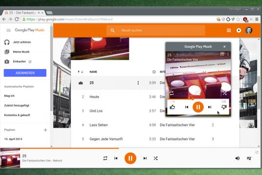 Google Play Music mit Mini-Player für Chrome