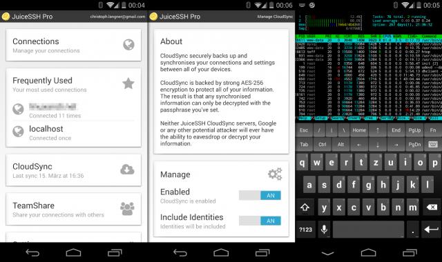 Der leistungsfähige SSH-Client JuiceSSH unter Android.