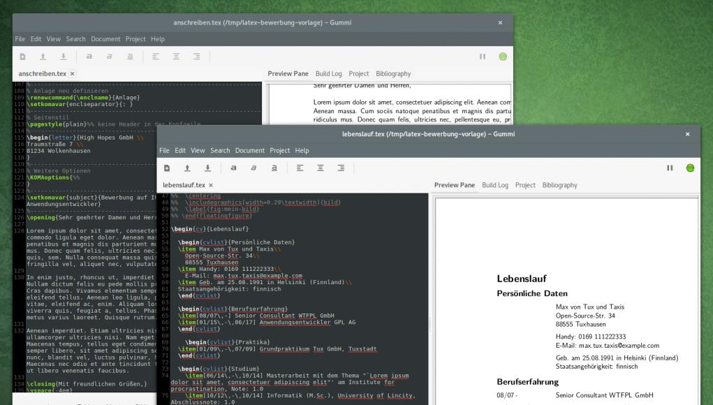 bewerbung mit hilfe von latex vorlagen unter ubuntu oder arch linux schreiben - Bewerbung Software