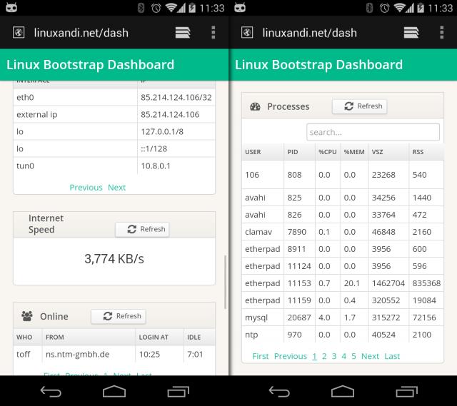 linux-dash braucht keine Handy-App, die Webseite passt sich mobilen Browsern ordentlich an.