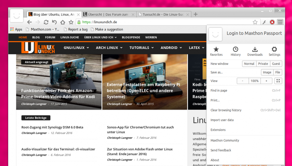 Maxthon Browser für Linux