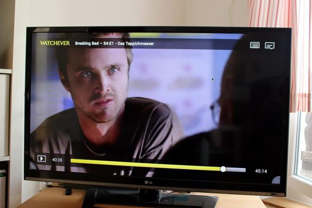 Online-Videotheken wie Watchever kann man so auch ohne Chromecast auf die große Leinwand bringen.