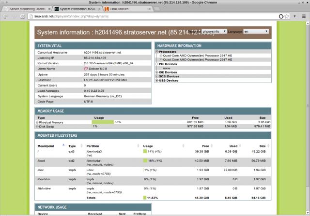 PhpSysInfo fasst Infos rund um das System in einer Webpage zusammen.