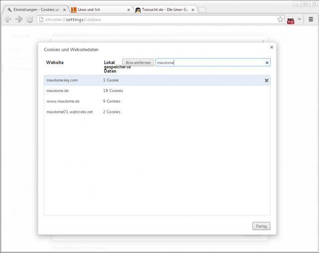 Erkennen Maxdome und Co. auch mit einem anderen User-Agent noch ein Linux, dann löscht die Cookies der Dienste.
