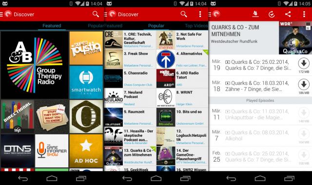 Mit Pocket Casts lassen sich auch Podcasts auf den Chromecast-Stick schicken.